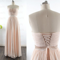 Long Prom Dresses, Custom Strapless Sweetheart Chiffon Formal Dresses, Long Champagne Bridesmaid Dresses