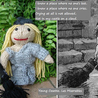 "Young Cosette, Les Miserables Doll Collection, Hand Knitted, approx. 8"" tall"
