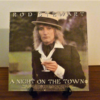 """Vintage 1976 Rod Stewart """"A Night on the Town"""" Vinyl LP Album Released by Warner Brother Records / Retro Classic Rock Album / 70s Pop"""