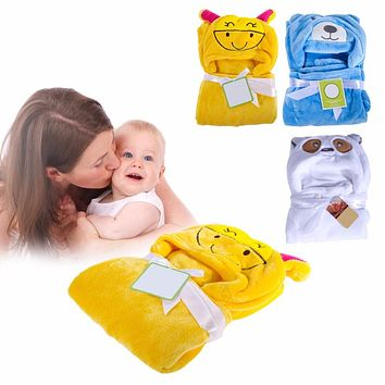 Baby Bath Cartoon Animal Hooded Newborn Blankets Soft Warm Baby Swaddle Wrap Envelope Character Kids Bath Towel