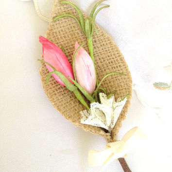 Country Garden Grooms Boutonniere, Burlap, Pink , Green, Country, Farm Wedding,  Spring, Summer, Rustic