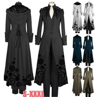 Victorian Double Cape Coat Gothic Steampunk Victorian Hooded Trench Coat Plus Size