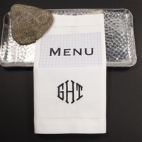 Wedding Menu Monogrammed Napkins /Set of 4/ Modern, Embroidered Cloth Napkins, wedding linens, menu folded, wedding napkins, menu napkins
