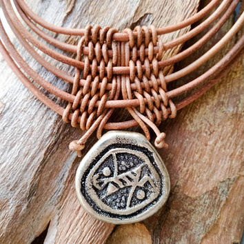 Woven bib leather choker necklace, large sterling silver engraved pendant, statement tribal jewelry, multi strand african style neck piece
