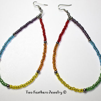 Rainbow Earrings - Beaded Earrings - Hippie Earrings - Bohemian - Statement Earrings - Gift For Her - Colorful Earrings - Shoulder Dusters