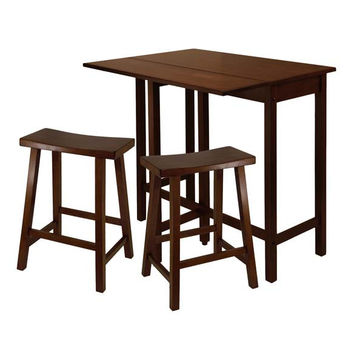 "Lynnwood 3 Piece High Drop Leaf Table with 24"" Saddle Seat Stool"