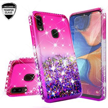 Samsung Galaxy A20 Case Liquid Glitter Phone Case Waterfall Floating Quicksand Bling Sparkle Cute Protective Girls Women Cover for Samsung Galaxy A20 W/Temper Glass- (Hot Pink/Purple Gradient)