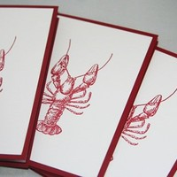 Lobster All Occasion Note Card Stationery Set of Five