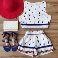 Fashion High Waist Shorts Print Vest Two-Piece