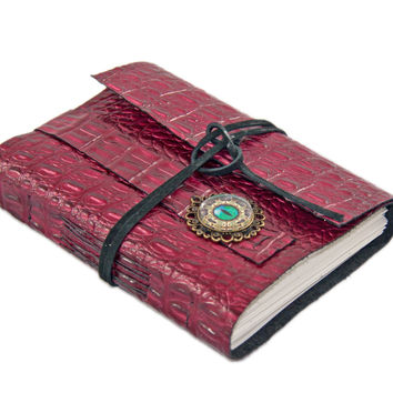 Leather Journal - Handmade Journal - Burgundy Alligator Embossed Leather Journal - Blank Paper - Ready to Ship - Eye Cameo - Steampunk