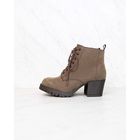 Faux Nubuck Leather Lace Up Chunky Heel Combat Boots in Brown