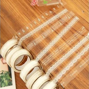 1 Pc White Translucent Sticky Adhesive Various Pattern Tape Decorative Lace Stickers Random (Size: 5.1cm by 5.1cm by 1.5cm) [7982879367]