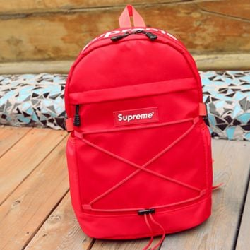 Supreme Fashion Casual Sport Daypack Bookbag Shoulder Bag Travel Bag School Backpack Red G