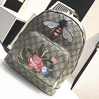 Gucci Women Casual Shoulder School Bag Bee Flower Embroider Cowhide Leather Backpack G-MY-JDCHH