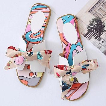 Hermes Fashion Women Casual Leather Bowknot Slippers Sandals Shoes White