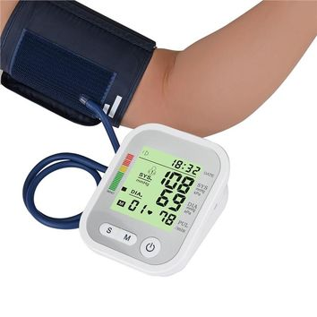 Automatic Digital Upper Arm Wrist Blood Pressure Monitor With Cuff 22-32cm LCD Screen Display Pulse Rate Meter Voice Broadcast Device Bag