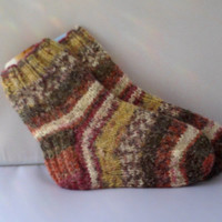 Hand knitted self patterning kids socks. 4 - 6 years.
