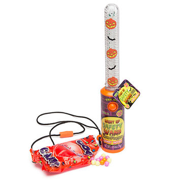 Halloween Pumpkin Light Up Wands with Candy: 12-Piece Display