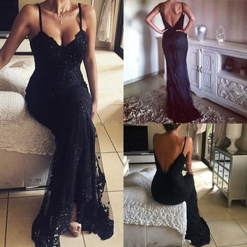 Sexy Black Lace Prom Dresses Mermaid Style 2017 Backless Vestido De Baile Long Party Dress Spaghetti Straps Formal Evening Gowns
