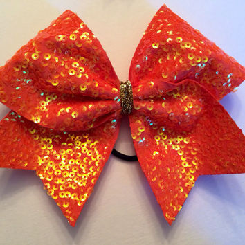 Cheer Bow - Orange and Gold Sequin