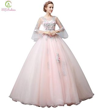 Fashion High-grade Evening Dress Sweet Pink Lace Flower Fairy Trumpet Sleeves A-line Long Dresses Banquet Party Gown