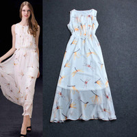 Sleeveless Dragonfly Digital Printed High Elastic Waist Sheer  Maxi Dress