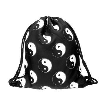 Drawstring Backpack in oriental yin yang pattern in black color for string bag