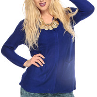 Royal Blue Knit Open Front Bodice Long Sleeve Cardigan