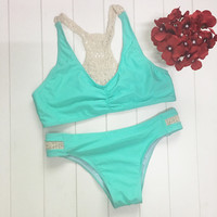 Lace Blue Bikini Set Womens Swimsuit Summer Swimwear