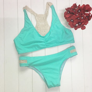 Lace Blue Swimsuit Bikini Set Summer Swimwear