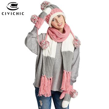 CIVICHIC Stylish Girl Gift Winter Colorful Knit Hat Scarf Glove 3 Piece Thicken Headwear Lady Tassel Shawl Pompon Beanies SH146