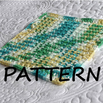 "PATTERN Moss Stitch Dishcloth 8"" x 8"" Instant Download Crochet Instructions Easy Crochet Pattern DIY Pattern, CRPDF1005"