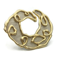 Large Park Lane Statement Brooch Pin Abstract Brushed Silver Tone Gold Tone Squiggle Design - Vintage Signed Silver and Gold Huge Art