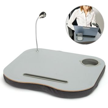 Multi-Purpose Laptop Tray Lap Desk With Adjustable LED Light/Cup Holder