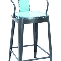 A.M.B. Furniture & Design :: Accessories :: Misc. Accessories :: Old Look Baby Blue Color Bar Chair With Comfort Arm Rests