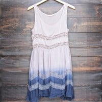dip dye boho lace trim trapeze slip dress in mocha and navy