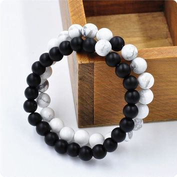 LMFV9O 2Pcs Couples His & Hers Distance Bracelet Lava Bead Matching YinYang Anniversary SYT9101