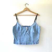 90s cropped jean tank top. denim tank top. jean bralette