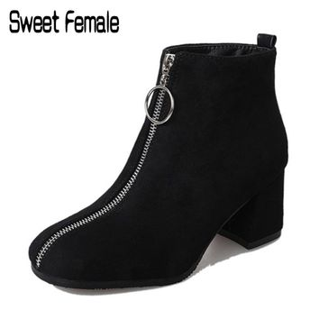 Sweet Female 8005 Western style Women Boots Zipper Suede Ankle Boots Square Toe High Heel Ladies mujer Martin Boots Size 35-39