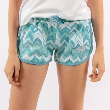 Mint Chevron Sleep Shorts