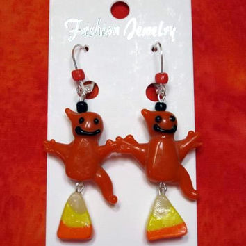 Halloween Earrings,  Candy Corn, Ghost, Lampwork glass, Fimo, Quailty Silver tone findings, Hypoallergenic earring hooks