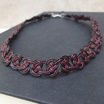 Celtic Knot Choker Necklace:  Claret Garnet & Black Hand Tied Leather Macrame Bohemian Unisex Jewelry, USC Gamecocks