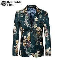 New Men's Slim Fit Floral Blazer Jacket Casual Blazers