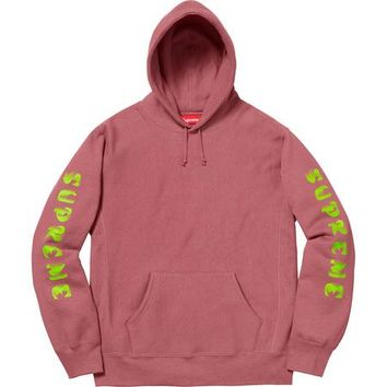 SUPREME Gradient Sleeve Hooded Sweatshirt - Dark Rose