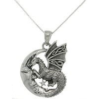 Sterling Silver Moon and Dragon Necklace | Overstock.com Shopping - The Best Deals on Sterling Silver Necklaces