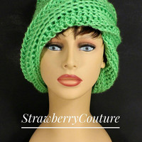 Crochet Hat Womens Hat, Womens Crochet Hat, Crochet Beanie Hat, Limelight Green Hat, African Hat, OMBRETTA Beanie Hat, Womens Accessories