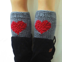 Red Gray Short Heart Knit Boot Cuffs. Love Heart Short Leg Warmers. Crochet heart Boot Cuffs Legwear gray red, Womens Boot Cuff, Teen Gift