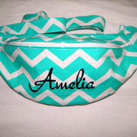 Turquoise Chevron Print Fanny Pack - Hip Bag - Women and Teen Girls Hip Pouch