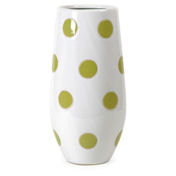 "16"" Essential Polka-Dot Vase, Green, Vases"