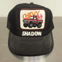 "Vintage Chevy 4x4 ""Shadow"" Trucker Hat Monter Truck Hipster Chevrolet 1980's Made In USA Cap Hat Hipster Collector"